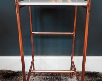Copper and Marble Side Table