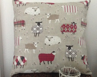 "Sheep Cushion Cover 17"" x 17"" red baa baa fabric"