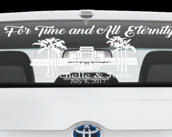 For Time and All Eternity - LDS Temple - Temple Marriage - Hawaii Temple Window Vinyl - Temple Sealing - Other Temples Available