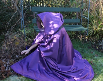 Heavy Satin Hooded Cloak, Yule Celebration, Handfasting, Luxurious Made to Order Cloak
