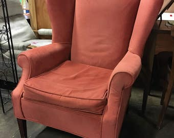 Vintage Peach Wing back chair, Retro Wingback chair, Sitting Chair
