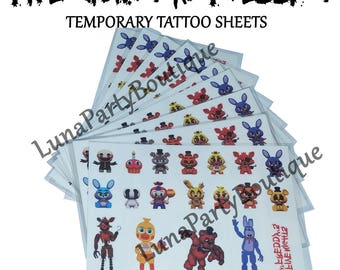 Five Nights at Freddy's Temporary Tattoo Sheets ~Great Kids Themed Birthday Party Favors, Supplies, Loot Bag Fillers for FNAF Freddys Game