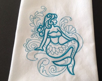 Mermaid Towel, Dish Towel, Kitchen Towel, Gift for Her, Hostess Gift, Beach Party, Housewarming Gift, Birthday Gift, Kitchen Accessory