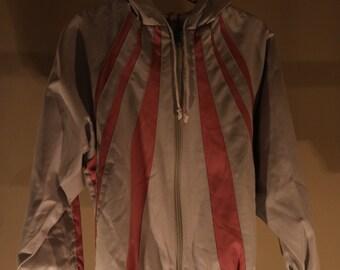 80s vintage kids jacket gray pink stripe jets GDR hood DDR