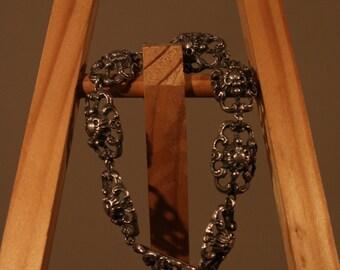 True vintage 80s bracelet 925 genuine silver traditional ornamental elements jewelry bracelet country romantic romantic