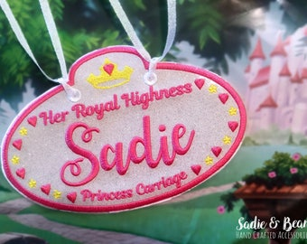 Princess Stroller Tag, Stroller Tags, Stroller tag, Baggage Tags, Vacation tags, Stroller accessories, bike tags, princess tags, girls