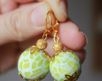 SALE Yellow White Golden Earrings from Polymer Clay