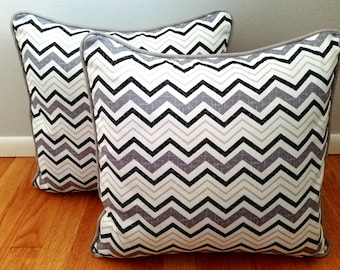 "Black, White and Grey Chevron 18""x18"" Decorative Throw Pillow Cover"