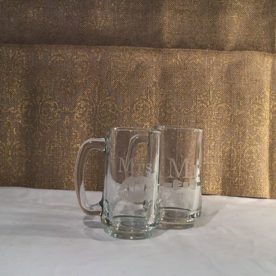 Beer mugs custom Mr bow Mrs and lips set. Etched Mini beer stein custom couples wedding gift. Beer mugs mr mrs custom couples gift christmas