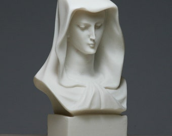 Madonna Virgin Mother Mary Bust Alabaster Statue Sculpture 5.12in - 13cm **Free Shipping & Free tracking Number**