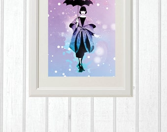 Greeting Card or wall hanging image fashionista with umbrella, instant download, birthday gift, wedding gift