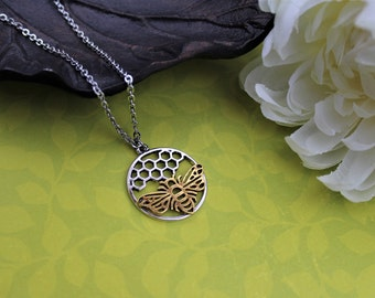 Bee necklace, honey bee jewelry, honeycomb, gold and silver, beekeeper gift
