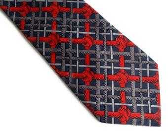 Vintage Mens Necktie, Patterned necktie, Gift for him, Red and blue necktie, Classic necktie, Mens necktie, Red necktie