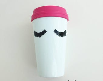 Eyelashes Travel coffee mug, Travel mug, Mother's Day Gift, Travel Tumbler, Makeup Gifts Eyelashes Boss lady Gifts Best Friend Gifts For her