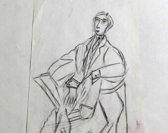 vintage original drawing man's portrait