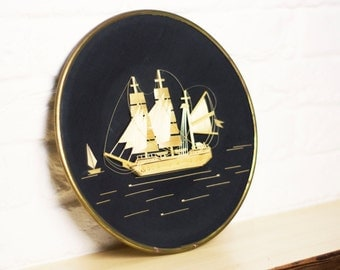 "Soviet Decorative picture""Ship""1985-Soviet decor-Vintage Straw Picture-Handmade Straw Art- Sailing Ship-Framed Round Wall Hanging-Wall Decor"