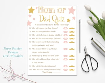 mom or dad quiz pink and gold baby shower game baby girl stars