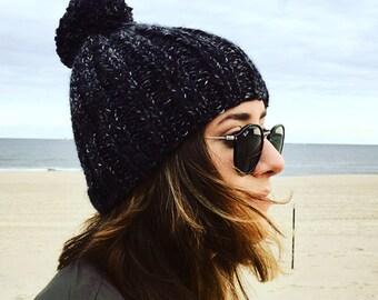 Chunky Ribbed Pom Hat