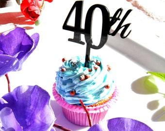 4 pcs a set CupCake topper 40th, cake decor for 40th birthday, acrylic cupcake toppers cake decor, anniversary cake topper supplies