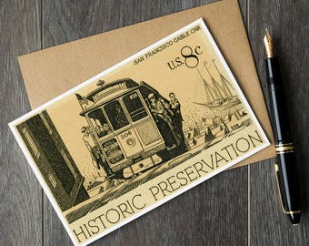 vintage San Francisco, San Francisco birthday cards, SF California wall decor, vintage cable cars, California wall art, postage stamp art