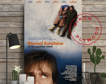 Eternal Sunshine of the Spotless Mind - Poster on Wood, Jim Carrey, Kate Winslet, Print on Wood, Christmas Gift, Gift for Her, Wall Decor