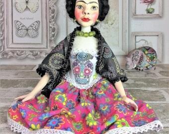 Frida Kahlo Art Doll, OOAK, Collectible Art Doll, Handmade Doll, Interior Doll, Boudoir Decor