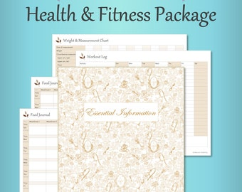 Health & Fitness Package – Taupe, Editable, Fillable, Food Journal, Weight, Body Measurements, Workout, Supplements, Health PDF Printables