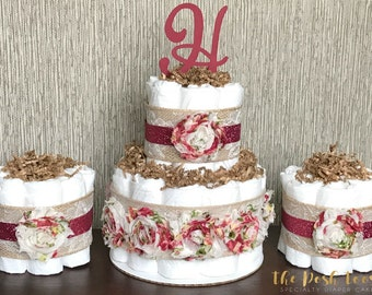 Floral Diaper Cake, Baby Shower Centerpiece Decor, Girl Vintage Pink Maroon Shabby Chic Burlap Lace Monogram, Baby Shower Gift, Set of 3