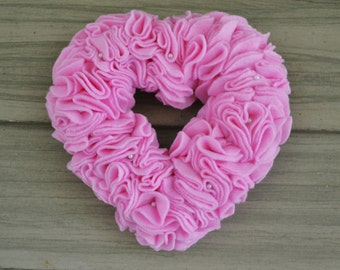 Small - Pearls and Ruffle Felt Valentine's Day or Wedding Wreath Wall Hanging Decoration