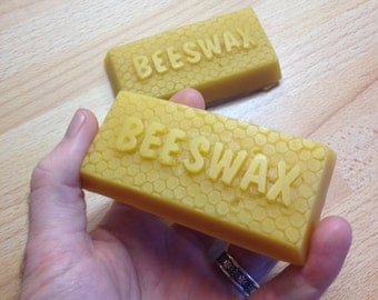 Natural Beeswax bars - 50g - single beeswax block ingot, pure beeswax for stitching wax, thread wax, candles, soaps, creams and lip balms
