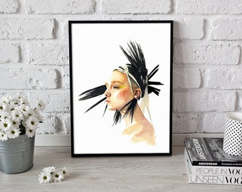 fashion wall art, art print, portrait home decor - 3 sizes available Giclee print