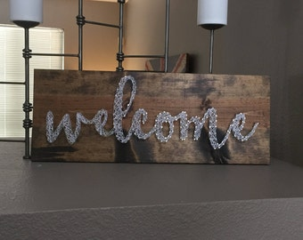 Welcome Sign, Nail and string art