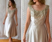Armored In Satin Dress | Vintage 50's Silver Cocktail Dress | Beaded
