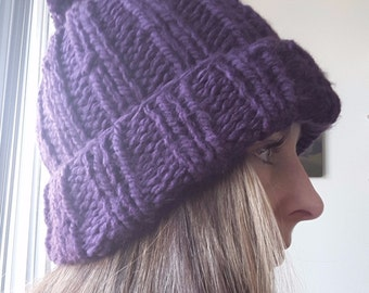 Snug as a Bug Pom Pom Hat- Purple