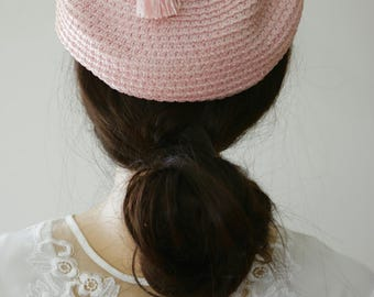 Blush Vintage Crochet Calot Style Hat