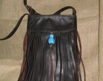 Leather with fringes and semi-precious stones