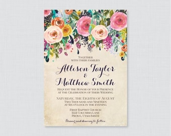 Printable OR Printed Wedding Invitations - Floral Wedding Invitations, Colorful Flower Wedding Invites, Shabby Chic Invitations 0003-A