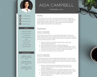Modern Resume Template For Pages & MS Word. Complete 1,2,3 Pages Resume Template. Editable CV template, Professional Resume with photo