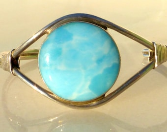 Taxco, Sterling Silver and Larimar Cuff Bracelet from Mexico
