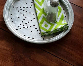 Vintage Industrial, Tin Serving Tray,Centerpiece, Wall Hanging,Perforated,Round,