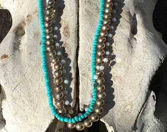 Teal, Pearl and Antiqued silver beaded three strand necklace