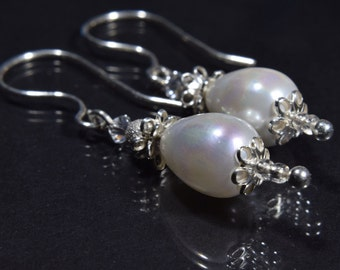 Teardrop Pearl Earrings, White Wedding Earrings, Elegant Pearl Earrings, Evening Earrings, Bridal  Earrings, Sterling Silver, Bride Earrings