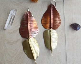 Kaffir Lime Leave Earrings Made of Hammered Brass and Flame Coloured Copper