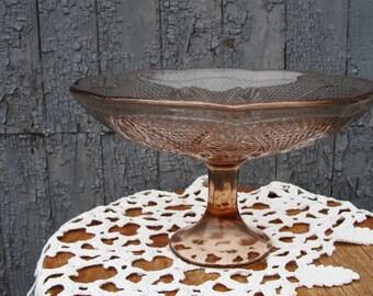 Vintage Fruit Bowl. Glass Vase for Fruit. Soviet Vase for sweets and biscuits. Brown Pedestal Vase. Pedestal Bowl. Made in USSR, 1970s.