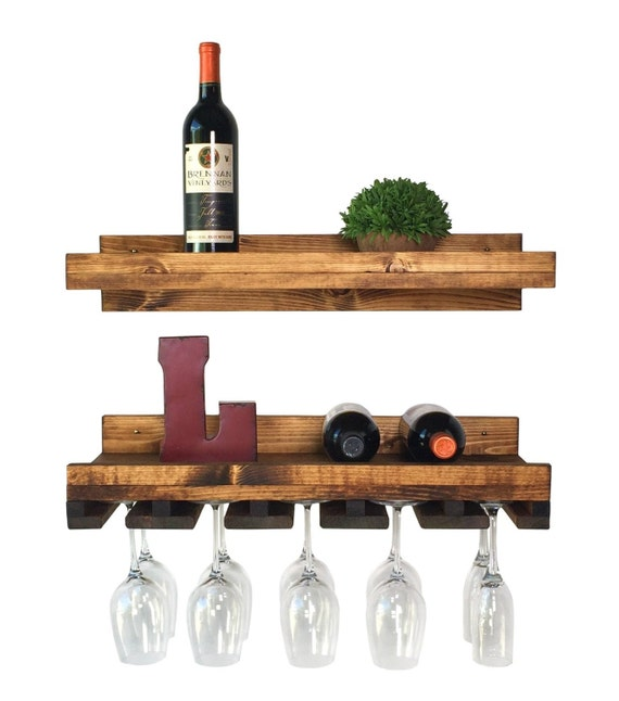 rustic pine floating wine shelf glass rack combo. Black Bedroom Furniture Sets. Home Design Ideas