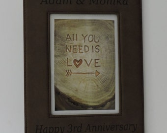3rd Anniversary Leather Gift, Photo Picture Frames with Names Engraved, Art print Included, 9th Anniversary and Third is Leather.