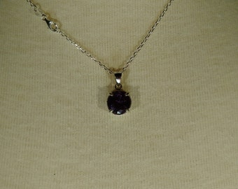 Purple Tourmaline Gemstone Solid Sterling Silver Necklace