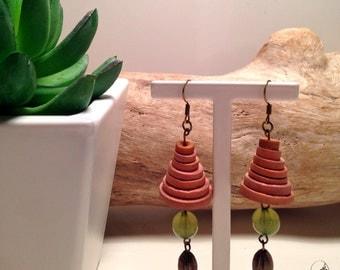Earrings wooden beads