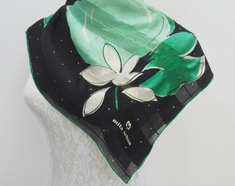 FREE SHIPPING!!!  Mila Schön Vintage Mila Schön Green Floral Abstract Theme Made in Japan 100% Silk Scarf