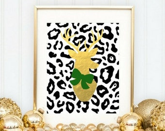 Gold deer Head Instant download/Faux gold Holiday Printable/cheetah print background digital wall art/Modern holiday 8x10 printable wall art